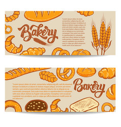 Set of bakery banner templates isolated on white vector