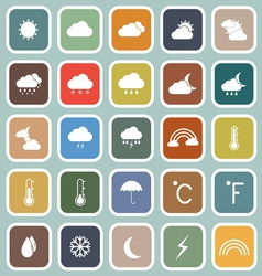Weather flat icons on blue background vector image