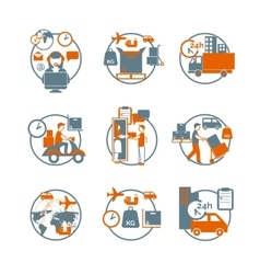 Logistic circle grey orange icons set vector