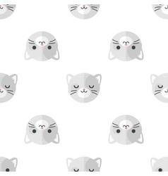 Flat cartoon cat heads seamless pattern vector