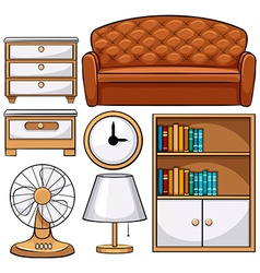 Wooden furniture and electronic equipments vector