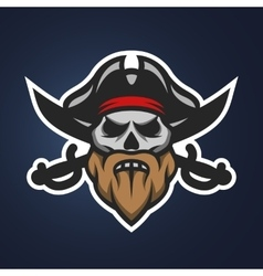 Pirate captain skull and swords vector