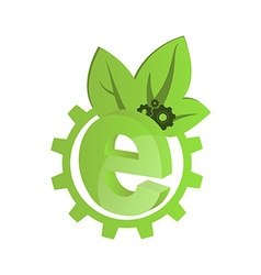 Icon green gears with green leaves and the letter vector