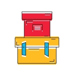 Pile of stacked sealed goods cardboard boxes flat vector