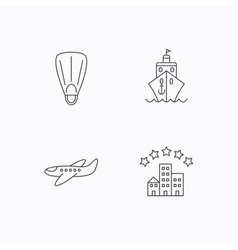 Cruise flippers and airplane icons vector