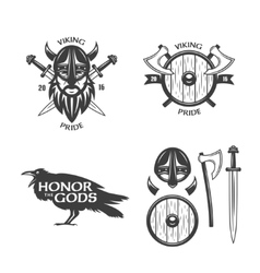 Viking related t-shirt graphics set vector
