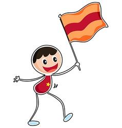 A boy holding a flag vector image vector image