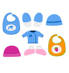 Baby clothes icon set design textile casual vector