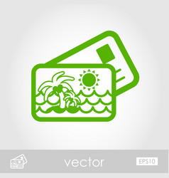 Card with palm outline icon summer vacation vector