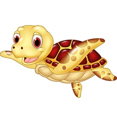 Cartoon funny turtle isolated on white background vector image