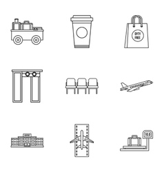 Check at airport icons set outline style vector image vector image