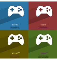Color set Gaming Joystick Flat modern web button vector image
