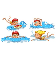 Coloured sketches of people swimming vector image