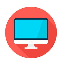 Computer Display Flat Circle Icon vector image
