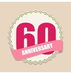 Cute template 60 years anniversary sign vector