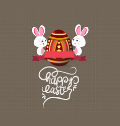 easter eggs and bunny greeting card with label vector image vector image