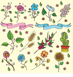 Flowers and plants set vector