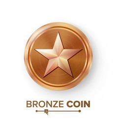 Game bronze coin with star realistic vector