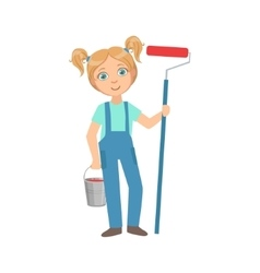 Girl with the metal bucket and painting roll kid vector
