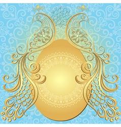 Gold-blue easter frame vector image vector image
