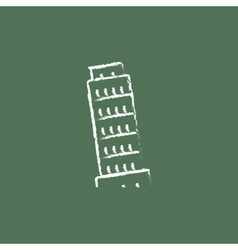 Leaning tower of pisa icon drawn in chalk vector