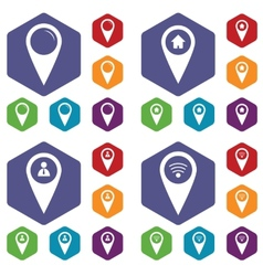 Map marker icon set vector image