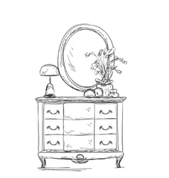 Mirror and commode for make up vector image