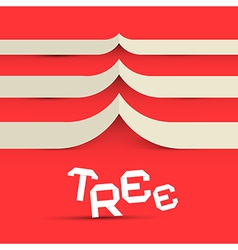 Paper Tree Symbol on Red Background vector image vector image