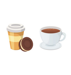 plastic coffee cup with hot coffee in cartoon vector image vector image