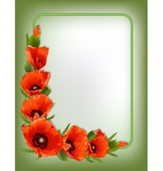 Red poppies floral frame vector