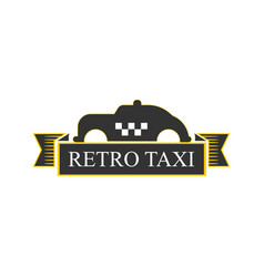 Retro taxi logotype with vintage car in yellow and vector