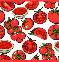 seamless pattern backdrop design of with ripe red vector image vector image