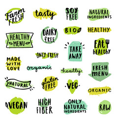 set of food badges vector image vector image