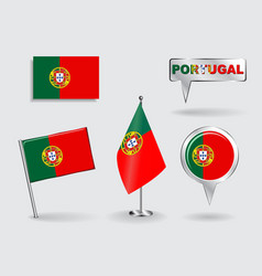 Set of Portuguese pin icon and map pointer flags vector image vector image