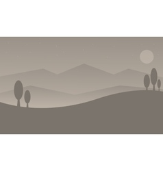 Silhouette of hill with gray backgrounds vector image