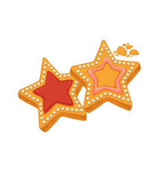 Star shape biscuits with caramel framed by sugar vector