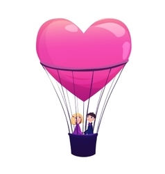 Two lovers in balloon on white background vector image