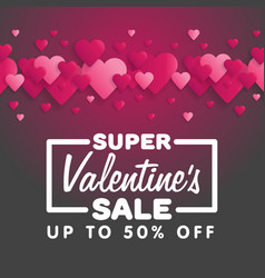 valentines day sale lettering with hearts on the vector image
