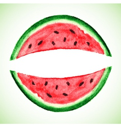 Watercolor watermelon slice vector