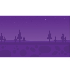 Silhouette of spruce at night vector