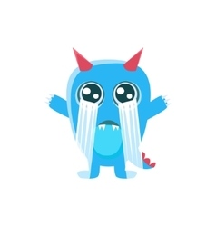 Blue monster with horns and spiky tail crying out vector
