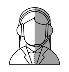 Operator woman with headphone design vector
