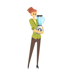 Woman holding a blender department store shopping vector