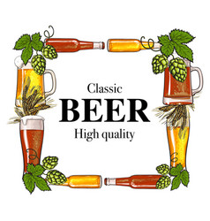 Square frame of beer bottle mug glass malt and vector