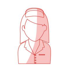 red silhouette shading faceless female nurse half vector image