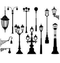 street lamp set streetlignt silhouette city vector image