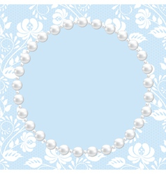 Pearl frame on lace background vector