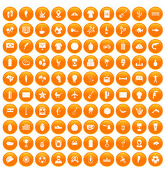 100 south america icons set orange vector