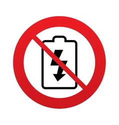 No battery charging sign icon lightning symbol vector
