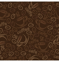 Seamless pattern with cups and coffee grains vector image